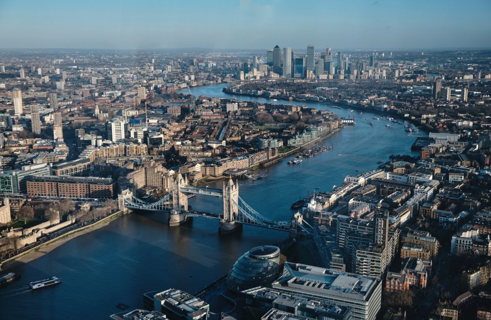 Ariel view of London - perfect minimoon in the UK